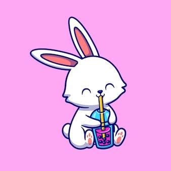 Niedliche kaninchen trinken boba milch tee cartoon vektor icon illustration. tier trinken symbol konzept isoliert premium-vektor. flacher cartoon-stil