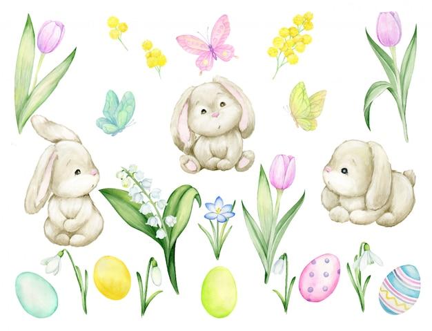 Niedliche kaninchen, tulpen, ostereier, maiglöckchen, krokusse, schmetterlinge. aquarell gesetzt, auf einem isolierten hintergrund. einzelne elemente für die oster- und frühlingsferien.