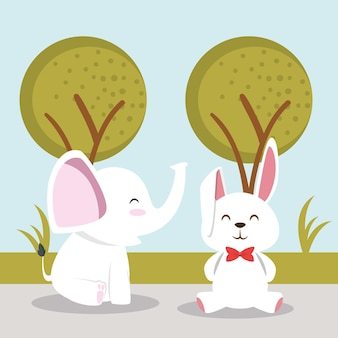 Niedliche kaninchen und helephant tiercharaktere