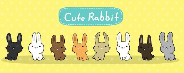 Niedliche kaninchen vektor festgelegt