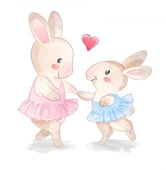 Niedliche kaninchenballerinafamilie