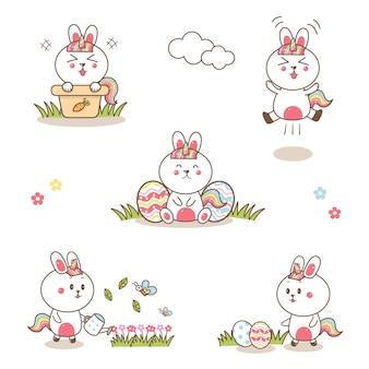 Niedliche kanincheneinhorn-karikaturhand gezeichnet mit pastellfarbe für ostern.