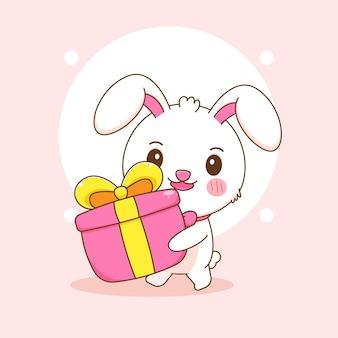Niedliche kaninchenfigur bringt geschenkbox-cartoon-illustration