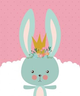 Niedliche kaninchenkarikatur mit krone