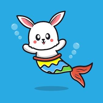 Niedliche kaninchenmeerjungfrau-cartoon-illustration
