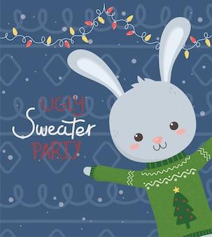 Niedliche kaninchenweihnachtshässliche strickjackenparty