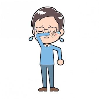 Niedliche karikatur charakter mann tränen