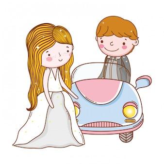Niedliche karikatur der autopaar-heirat
