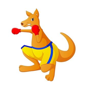 Niedliche karikatur des kängurus ist boxen