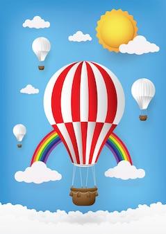 Niedliche karikatur, grußkarten heißluftballon.