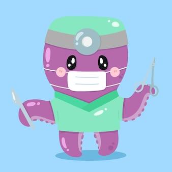 Niedliche karikatur-oktopus-chirurgenvektor-tierillustrationen