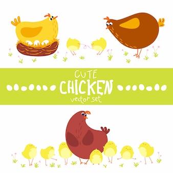 Niedliche karikatur stellte hühnermutter mit babys ein. illustration der nutztiere im einfachen handgezeichneten skandinavischen stil