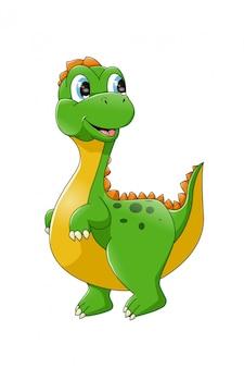 Niedliche karikatur-umrisszeichnung der baby-dinosaurier zur farbe