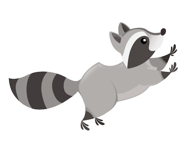 Niedliche karikatur waschbär springen seitenansicht karikatur tier charakter design