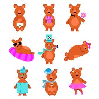 Niedliche karikaturbraunbären mit einem postumschlag mit einem bienenzeichen. illustrationssatz