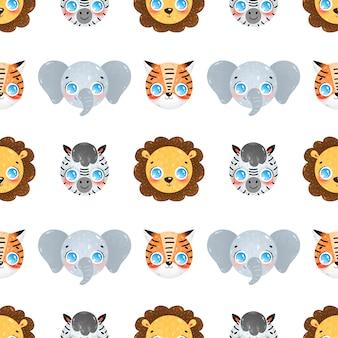 Niedliche karikaturgesichter des nahtlosen musters tropischer tiere. nahtloses muster löwe, elefant, zebra, tiger.
