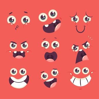 Niedliche karikaturgesichtsfiguren mit verschiedenen emotionen setzen isoliert