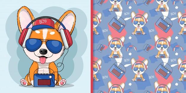 Niedliche karikaturhunde-corgi, die musik mit kopfhörer hört