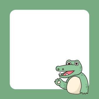 Niedliche karikaturillustration des krokodilnotizblocks