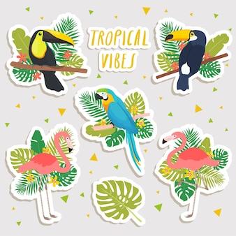 Niedliche karikaturillustrationen von papagei, flamingos und tukanen mit tropischen blattaufklebern. süße aufkleber, patches oder pins sammlung