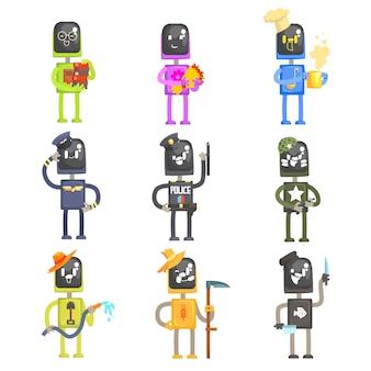 Niedliche karikaturroboter in verschiedenen berufen mit professionellem ausrüstungssatz der bunten zeichenillustrationen