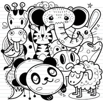 Niedliche karikaturskizzentiere