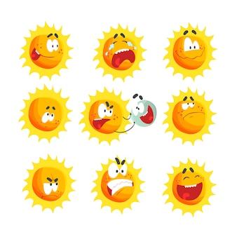 Niedliche karikatursonne verschiedene emoticons.