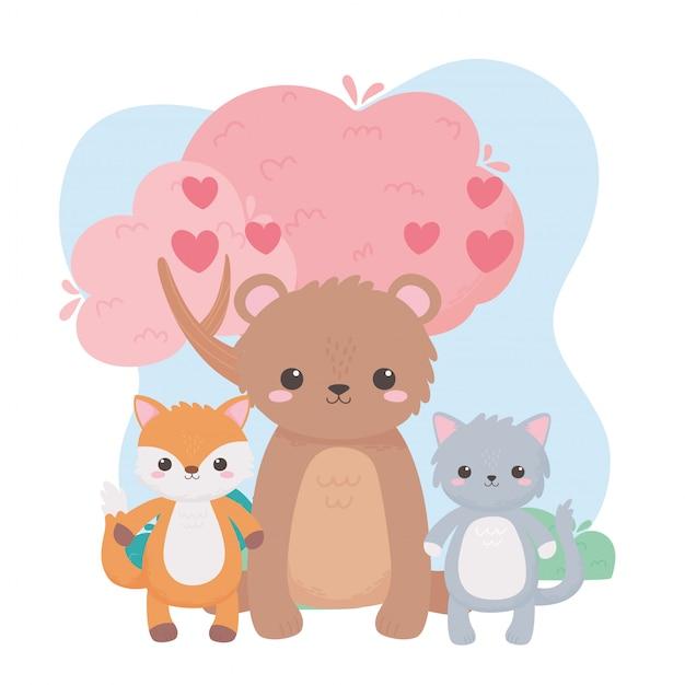 Niedliche karikaturtiere des niedlichen bärenkatzenfuchsbaumherzens in einer natürlichen landschaft
