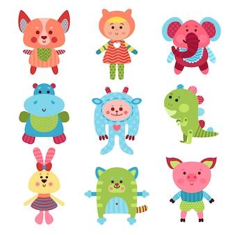 Niedliche karikaturtiere und babyspielzeugsatz bunte illustrationen
