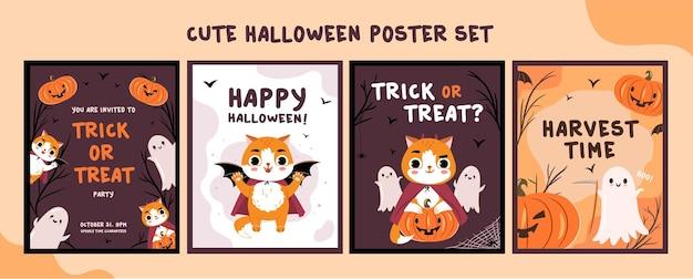 Niedliche karten mit comicfiguren halloween lustige gruselige grußkarten-designvorlagen eingestellt