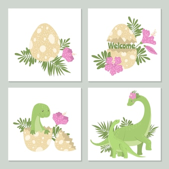 Niedliche karten mit dinosauriern und seinem ei.