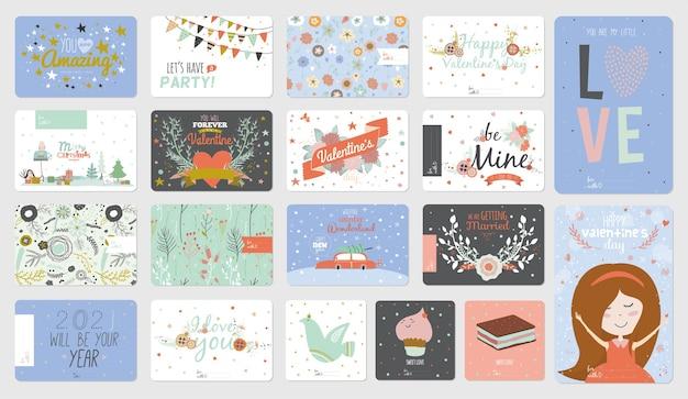 Niedliche karten, notizen und aufkleber mit schönen illustrationen.