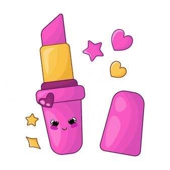 Niedliche kartenschablone mit kawaii rosa lippenstift, frauenmaterial oder mädchenzusatz