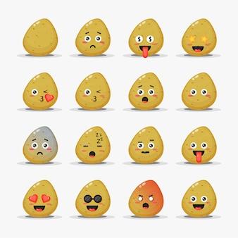 Niedliche kartoffeln mit emoticons eingestellt
