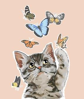 Niedliche katze, die mit schmetterlingsillustration spielt