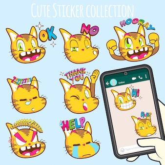 Niedliche katze emoji aufklebersammlungen