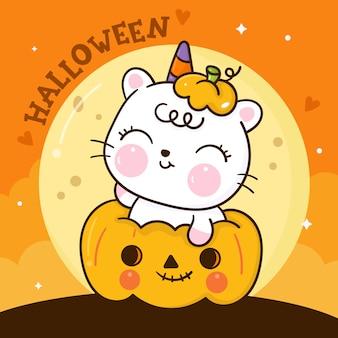Niedliche katze halloween karikatur auf kürbis kawaii tierhand gezeichnet