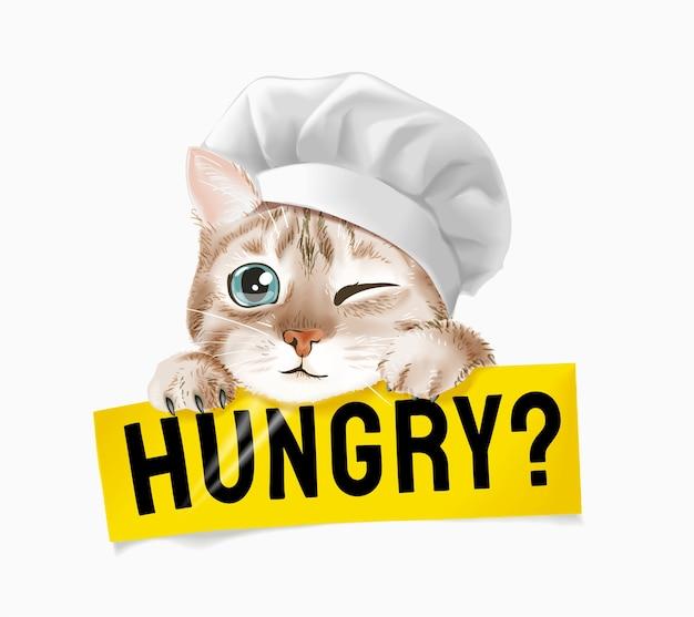 Niedliche katze in der kochmütze, die hungrige zeichenillustration hält