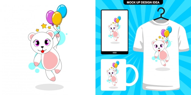 Niedliche katze mit ballon-cartoonillustration und merchandisingentwurf