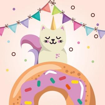 Niedliche katze mit süßer kawaii charakter-geburtstagskarte des donuts