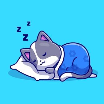 Niedliche katze schläft mit kissen und decke cartoon vektor icon illustration. tier natur symbol konzept isoliert premium-vektor. flacher cartoon-stil