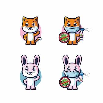 Niedliche katze und kaninchen kämpfen covid 19 vektor maskottchen set bundle