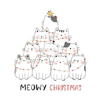 Niedliche katze weihnachtsbaum