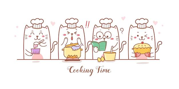 Niedliche katzen cartoon kochen und bäckerei.