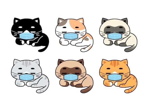 Niedliche katzen in verschiedenen rassen tragen gesichtsmasken-set