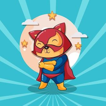 Niedliche katzen-superheld-cartoon-illustration. tierheld-konzept isolierte flache karikatur