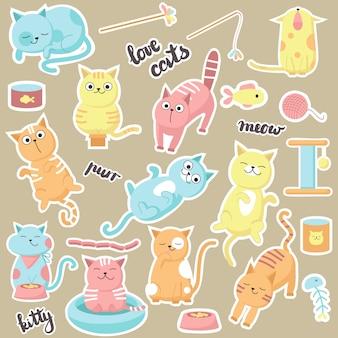 Niedliche katzenaufkleber. vector hand gezeichnete illustration von glücklichen liebeskatzen, von kätzchen, die essen, lecken, schlafen, miauen und spielen.