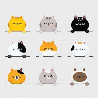 Niedliche katzengesichter, kätzchen oder kätzchen-tieremoticons aufkleber