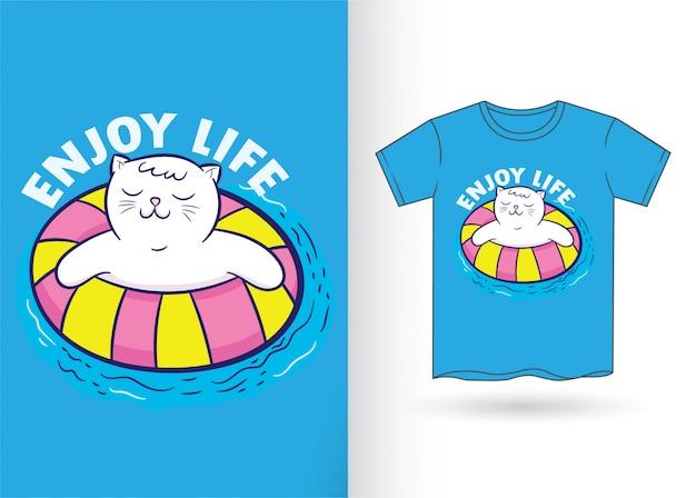 Niedliche katzenkarikatur für t-shirt