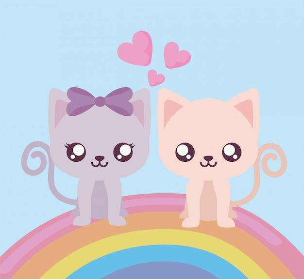 Niedliche katzenkarikaturen und regenbogenentwurf